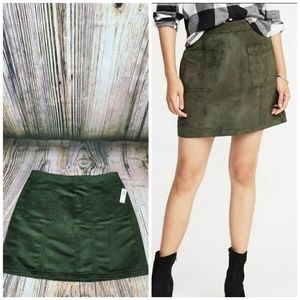 Old Navy Faux Suede Aline Royal Pine Zip Skirt NWT